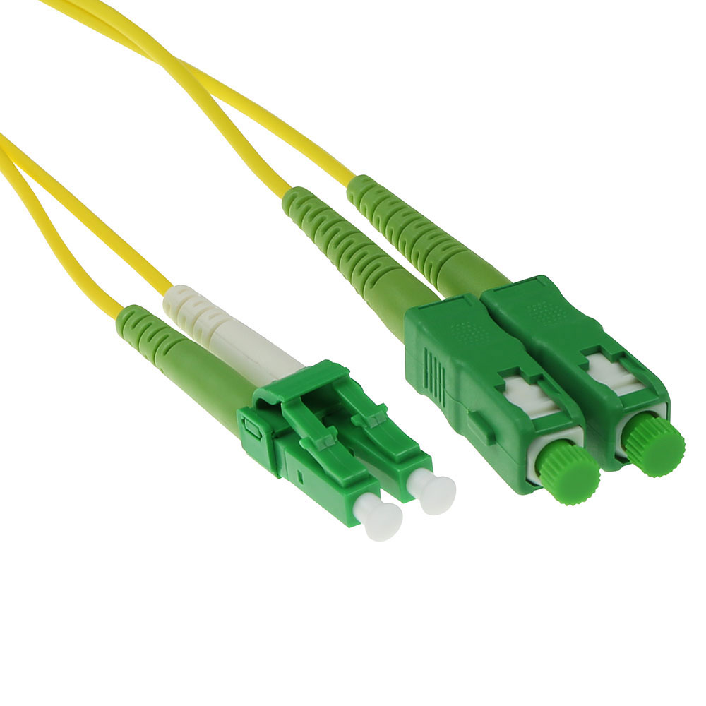 ACT 5 meter LSZH Singlemode 9/125 OS2 fiber patch cable duplex with LC/APC8 and SC/APC8 connectors