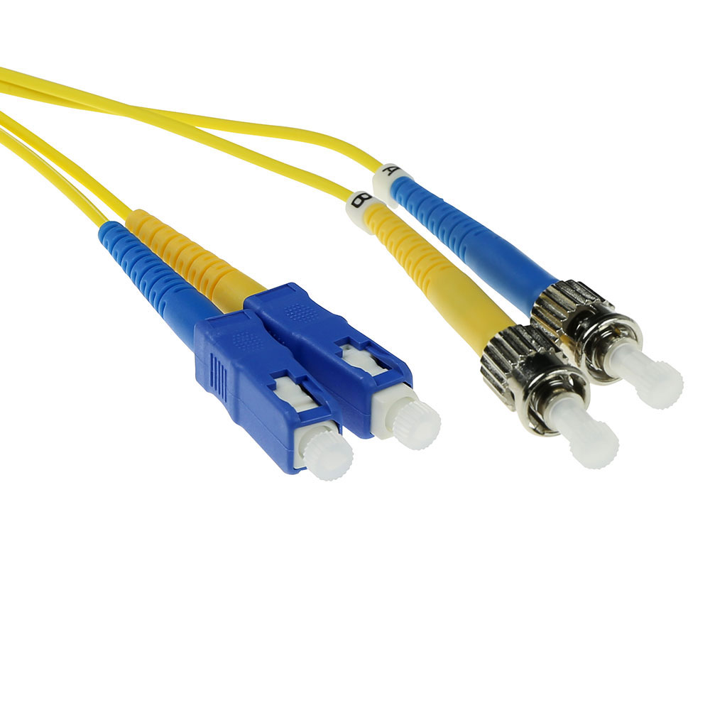 ACT 10 meter LSZH Singlemode 9/125 OS2 fiber patch cable duplex with SC and ST connectors