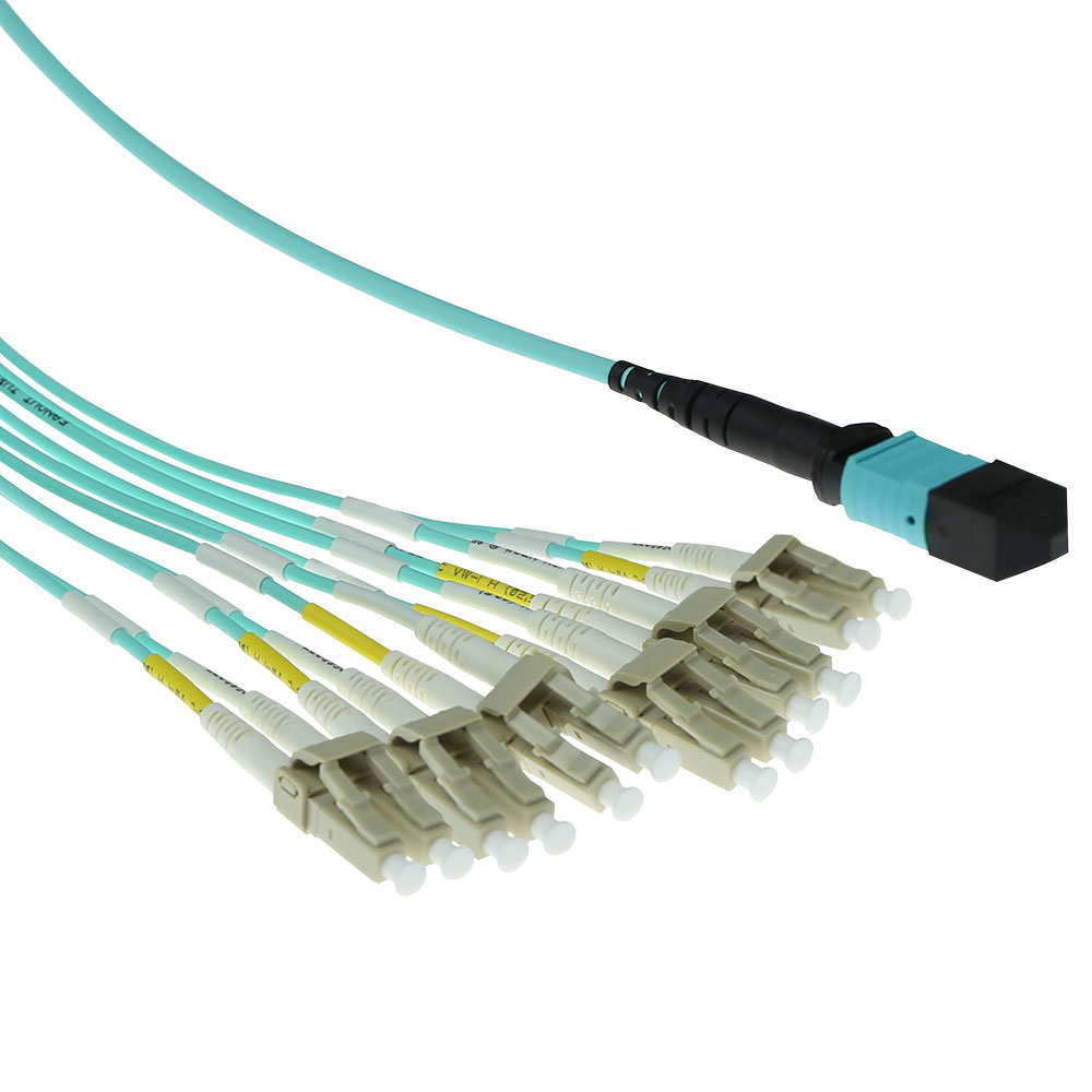 ACT 3 meter Multimode 50/125 OM3 fanout patchcable 1 X MTP female - 6 X LC duplex 12 fibers