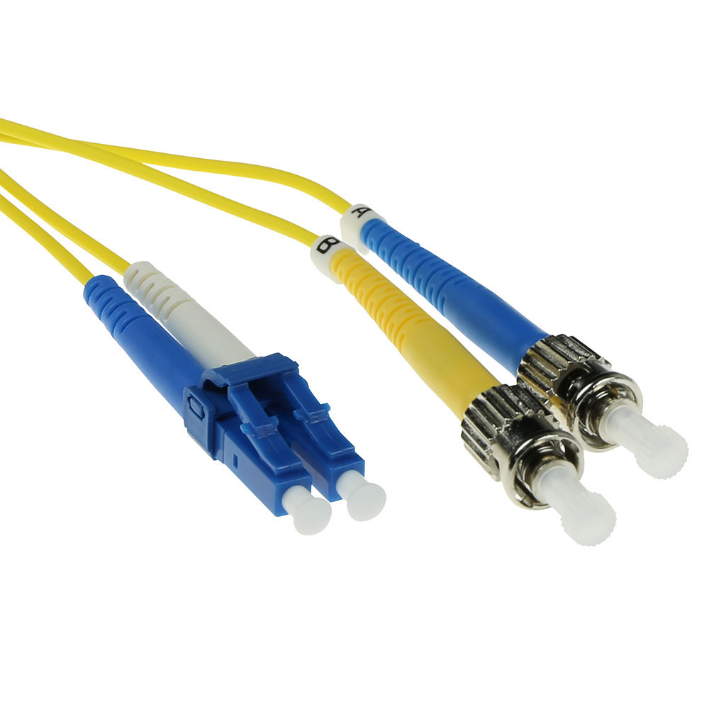 ACT 1.5 meter LSZH Singlemode 9/125 OS2 fiber patch cable duplex with LC and ST connectors