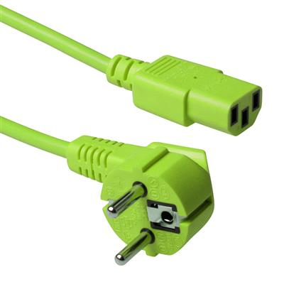 ACT Powercord mains connector CEE7/7 male (angled) - C13 green   0.60 m