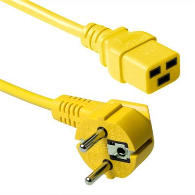 ACT Powercord mains connector CEE7/7 male (angled) - C19 yellow 1.20 m