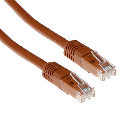 ACT Brown 15 meter U/UTP CAT6A patch cable with RJ45 connectors