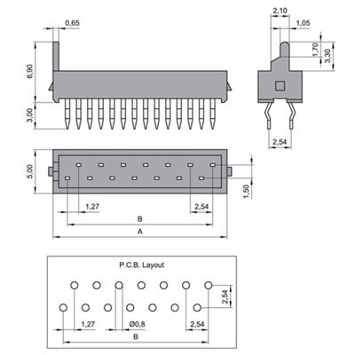 MPE-Garry 373-1-010-0-T-KT0 10 pole PCB board to board male header with 1.27mm raster