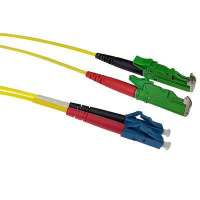 ACT 1.5 meter LSZH Singlemode 9/125 OS2 fiber patch cable duplex with E2000/APC and LC/UPC connectors