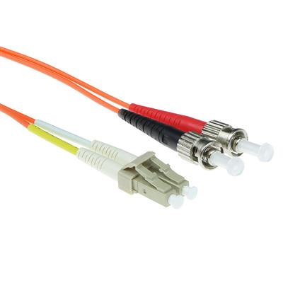 ACT 50 meter LSZH Multimode 50/125 OM2 fiber patch cable duplex with LC and ST connectors